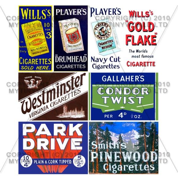 Set of 8 Dolls House Miniature Cigarette Shop Signs Circa 1910-30