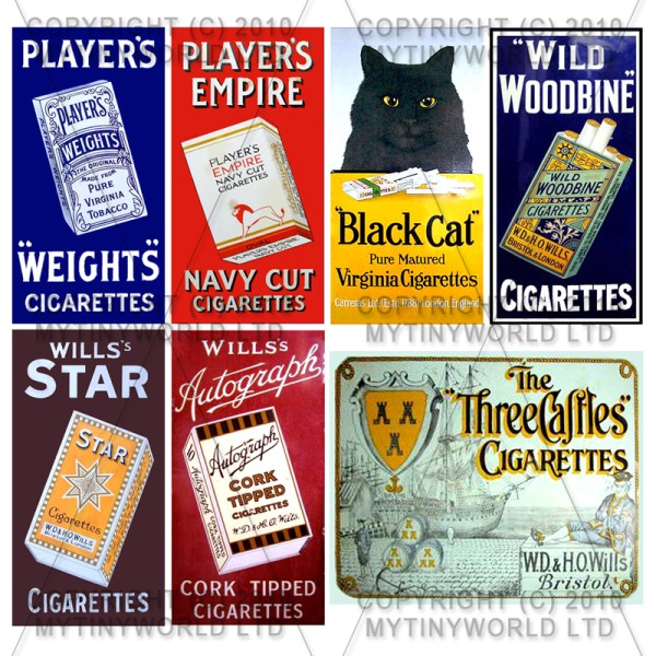 Set of 7 Dolls House Miniature Cigarette Shop Signs Circa 1910-30