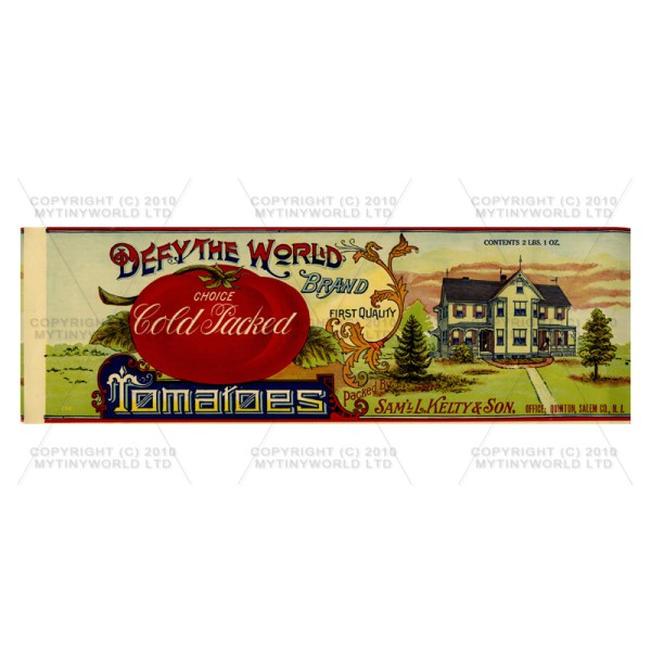 Dolls House Miniature Defy The World Tomatoes Label (1890s)