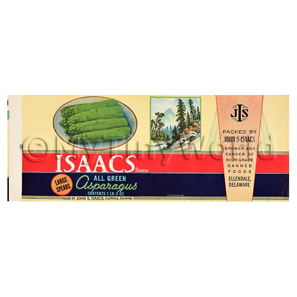 Dolls House Miniature  | Dolls House Miniature Isaacs Asparagus Label (1930s)