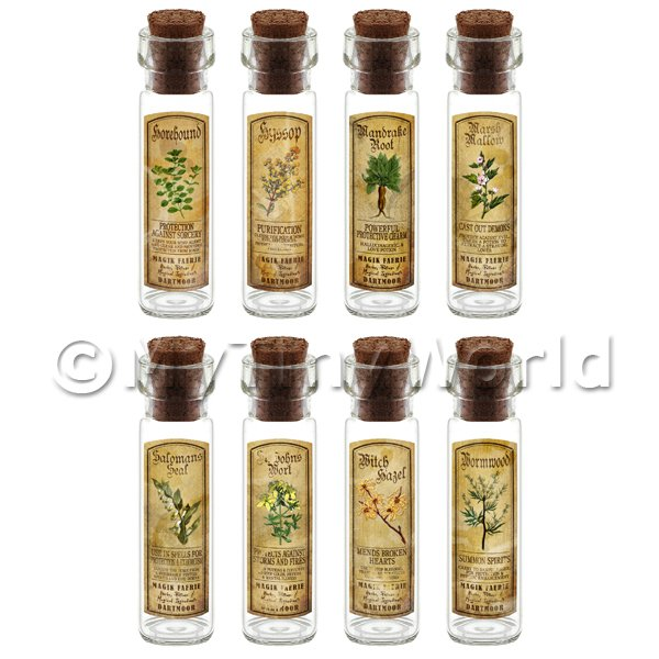 Dolls House Apothecary Long Herb Colour Label And Bottle Set 5