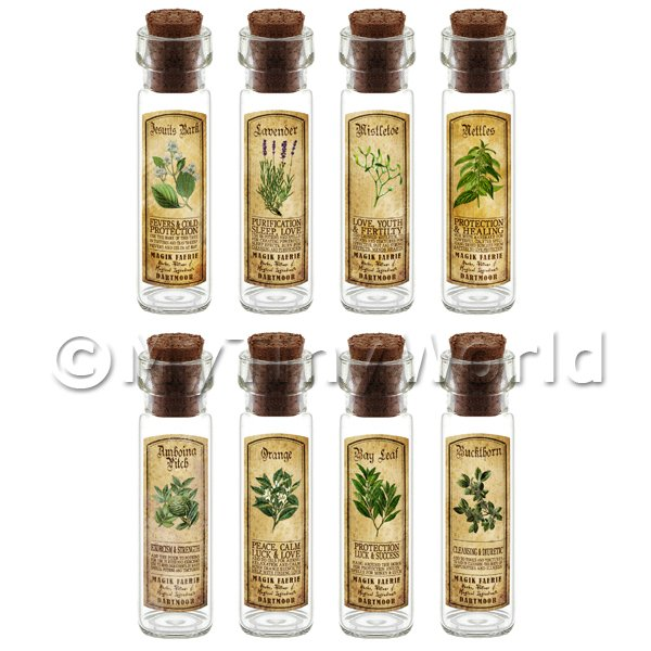 Dolls House Apothecary Long Herb Colour Label And Bottle Set 6