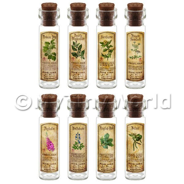 Dolls House Miniature  | Dolls House Apothecary Long Herb Colour Label And Bottle Set 7