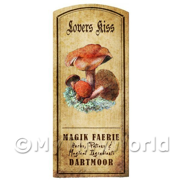 Dolls House Miniature Apothecary Lovers Kiss Fungi Colour Label