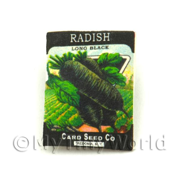 Dolls House Miniature Garden Long Black Radish Seed Packet