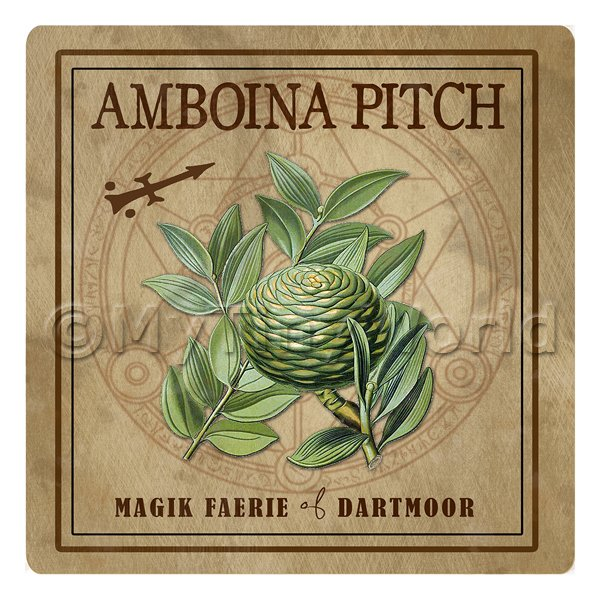 Dolls House Herbalist/Apothecary Square Amboina Pitch Herb Label