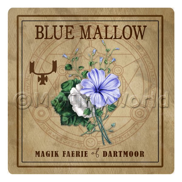 Dolls House Herbalist/Apothecary Square Blue Mallow Herb Label