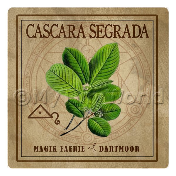 Dolls House Herbalist/Apothecary Square Cascara Segrada Herb Label