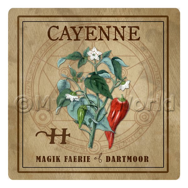Dolls House Herbalist/Apothecary Square Cayenne Herb Label