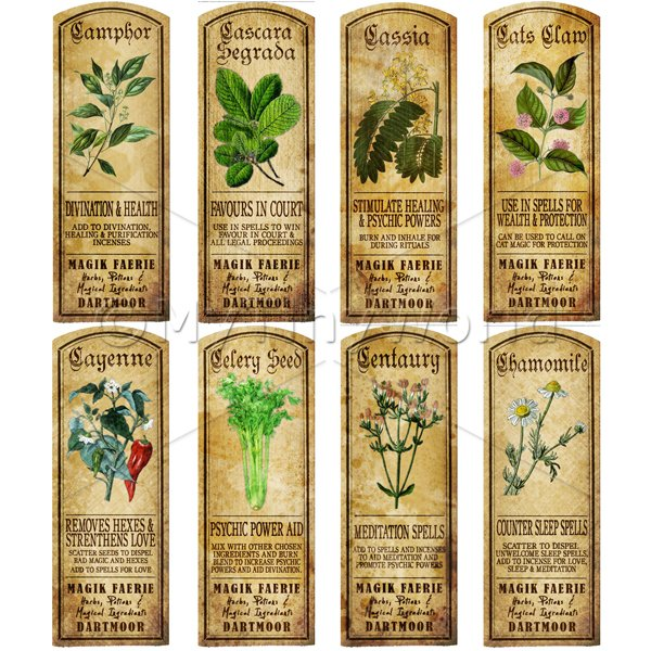 Dolls House Miniature  | Dolls House Herbalist/Apothecary Long Herb Colour Label Set 3