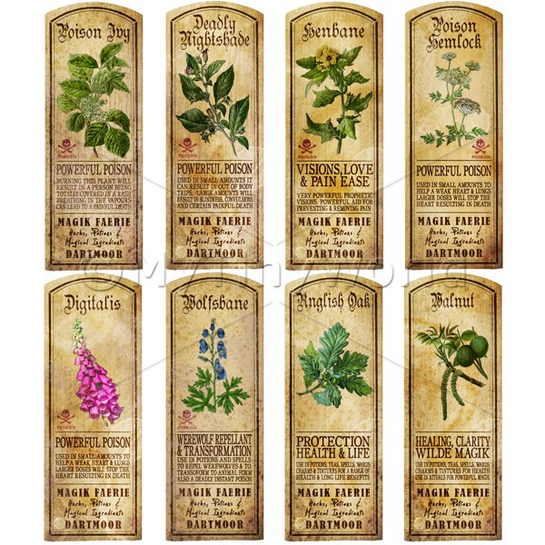 Dolls House Herbalist/Apothecary Long Herb Colour Label Set 7