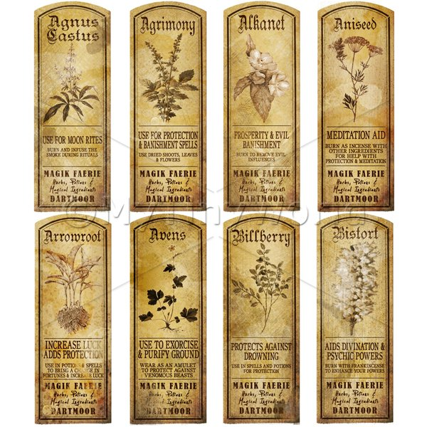 Dolls House Miniature  | Dolls House Herbalist/Apothecary Long Herb Sepia Label Set 1