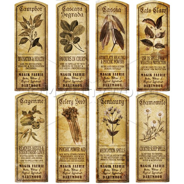 Dolls House Miniature  | Dolls House Herbalist/Apothecary Long Herb Sepia Label Set 3