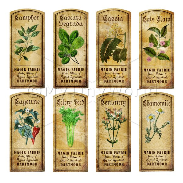 Dolls House Miniature  | Dolls House Herbalist/Apothecary Short Herb Colour Label Set 3