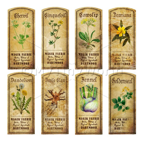 Dolls House Herbalist/Apothecary Short Herb Colour Label Set 4