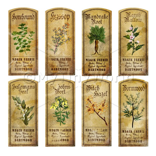 Dolls House Herbalist/Apothecary Short Herb Colour Label Set 5