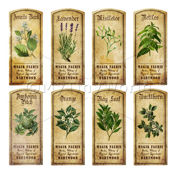 Dolls House Miniature  | Dolls House Herbalist/Apothecary Short Herb Colour Label Set 6