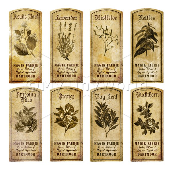 Dolls House Herbalist/Apothecary Short Herb Sepia Label Set 6