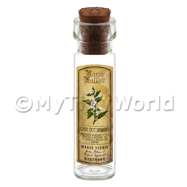 Dolls House Apothecary Marsh Mallow Herb Long Colour Label And Bottle