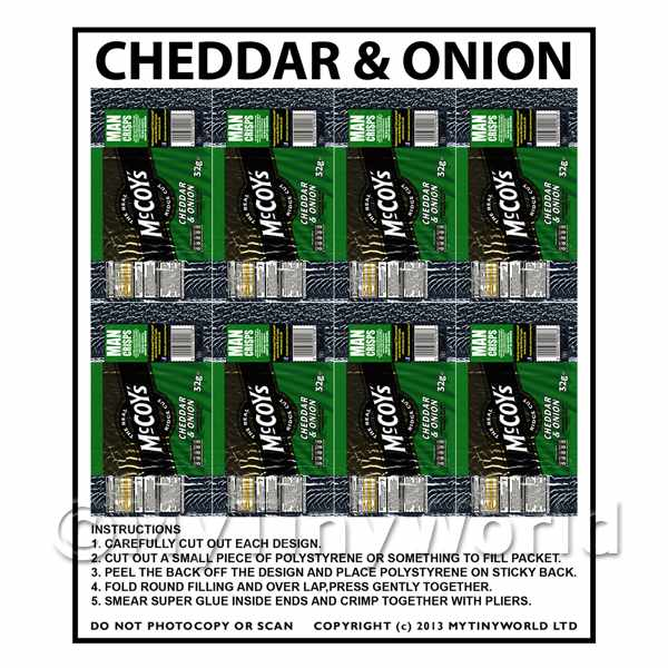 Dolls House Miniature Packaging Sheet of 8 McCoys Cheddar & Onion Crisps