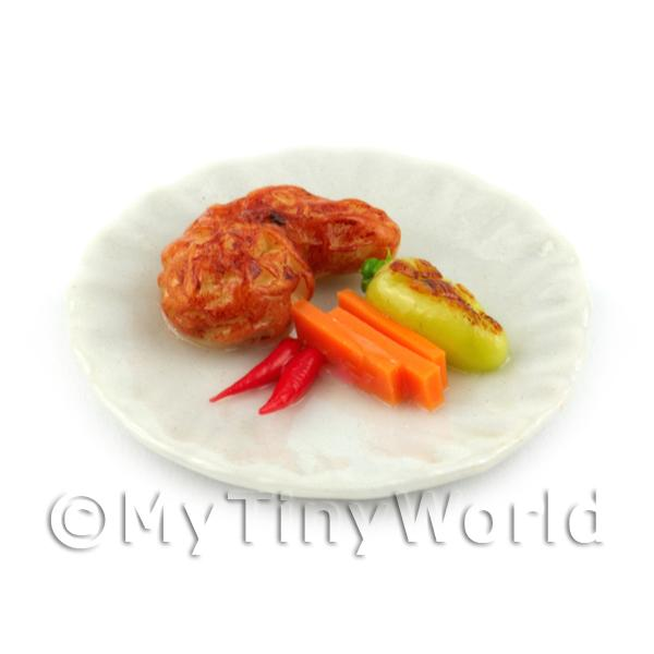 Dolls House Miniature Chilli Chicken Dinner For Small Appetites