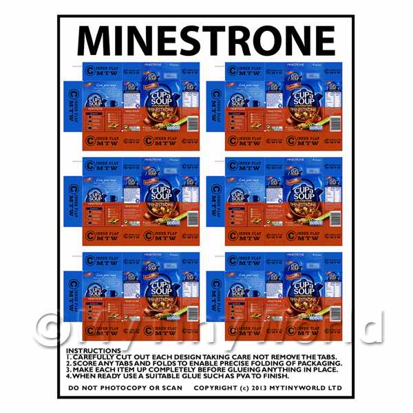 Dolls House Miniature Packaging Sheet of 6 Minestrone Cup a Soup