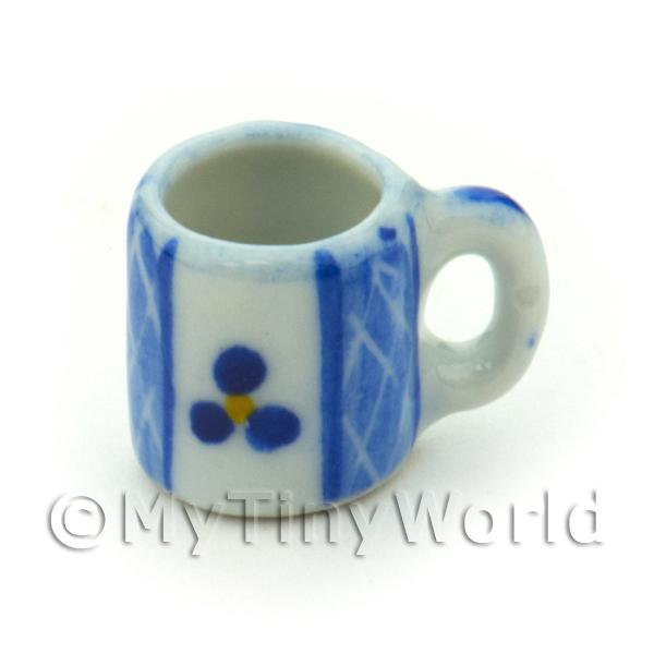 Dolls House Miniature Blue Lace Design Ceramic Coffee Mug