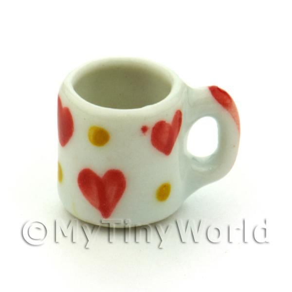 Dolls House Miniature Ceramic Coffee Mug With Heart Pattern