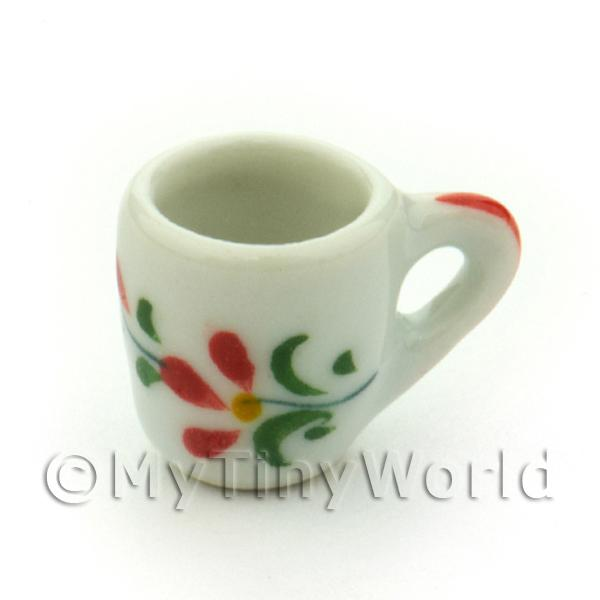 Dolls House Miniature Red Orchid Design Ceramic Soup Mug