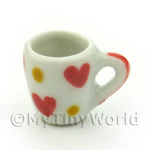 Dolls House Miniature Heart Pattern Ceramic Soup Mug