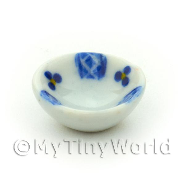 Dolls House Miniature Blue Lace Design 16mm Ceramic Bowl