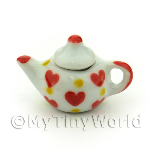 Dolls House Miniature Ceramic Teapot With Heart Pattern