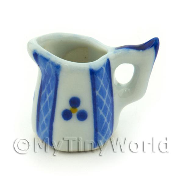 Dolls House Miniature Blue Lace Design Ceramic 6 Side Water Jug