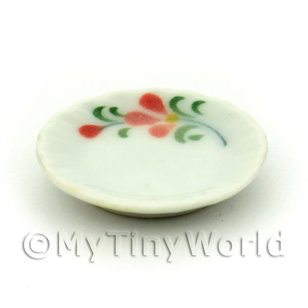 Dolls House Miniature Red Orchid Design 20mm Ceramic Plate