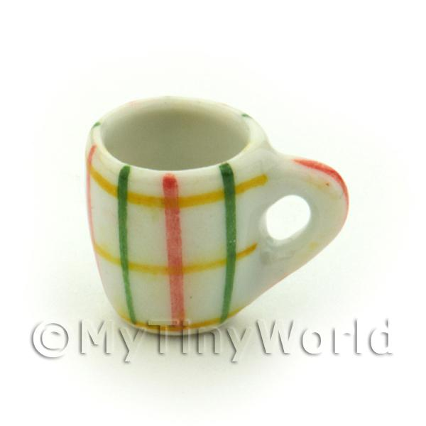 Dolls House Miniature Crosshatch Pattern Ceramic Soup Mug