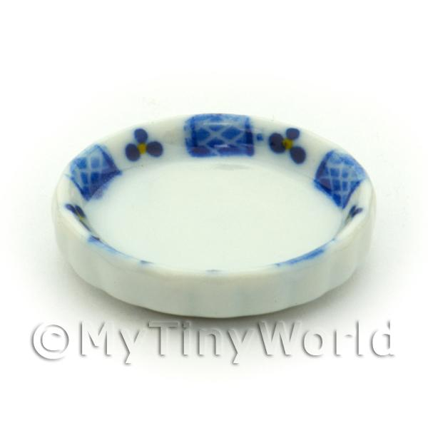 Dolls House Miniature  | Dolls House Miniature Blue Lace Design Ceramic Flan Dish