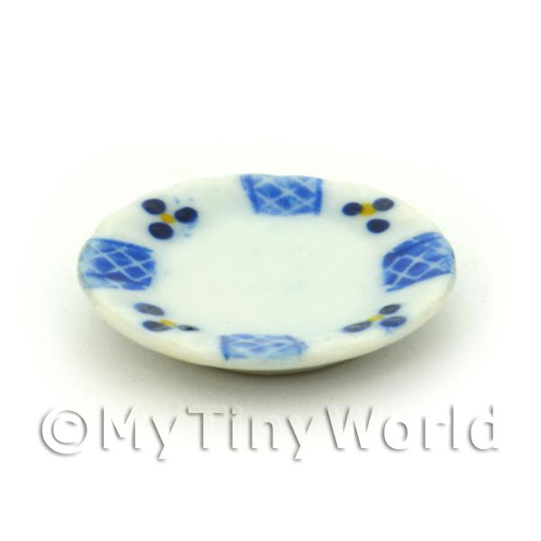 Dolls House Miniature 22mm Blue Lace Design Ceramic Plate