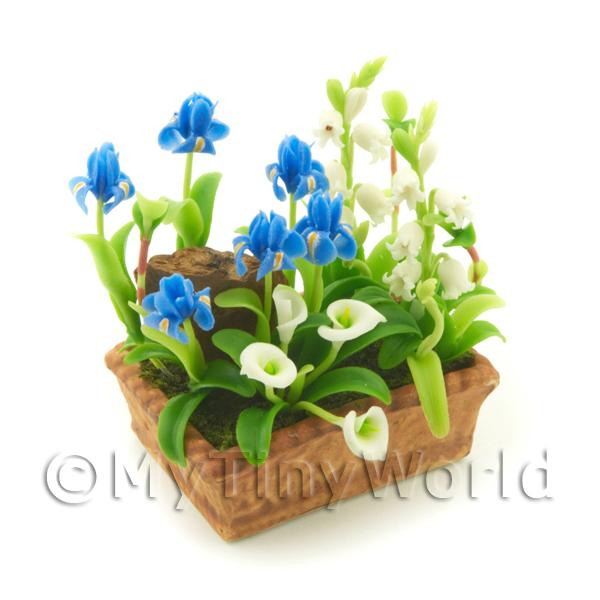 Dolls House Miniature Iris, Calla And Snowdrop Display
