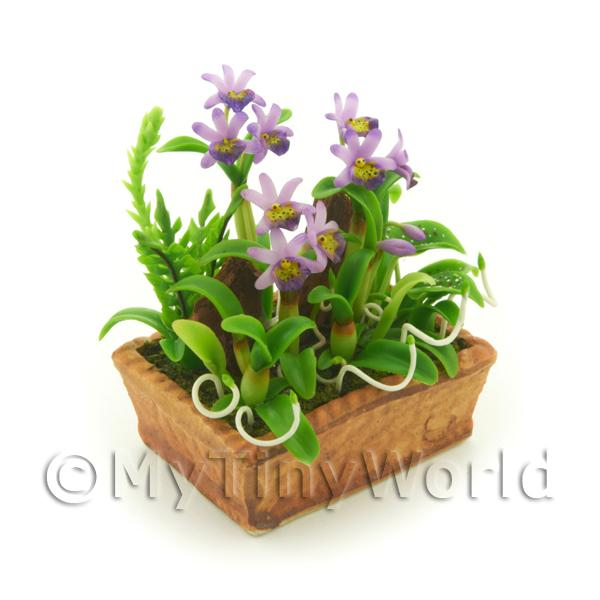 1/12 Scale Dolls House Miniatures  | Dolls House Miniature Violet Dendrobium Orchid Display