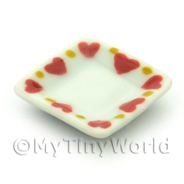 Dolls House Miniature Ceramic 21mm Square Plate With Heart Pattern