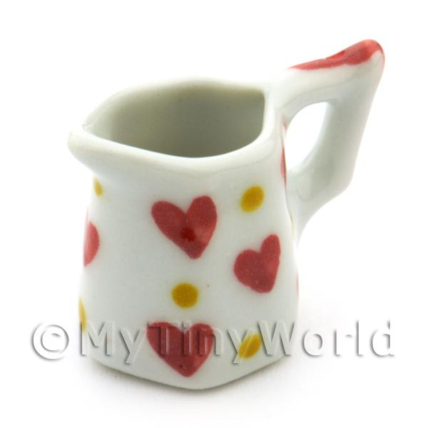 Dolls House Miniature Heart Pattern Ceramic 6 Sided Jug