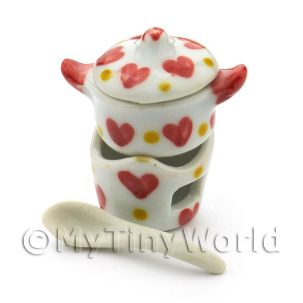Dolls House Miniature Ceramic Fondue Set With Heart Pattern