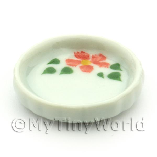 Dolls House Miniature Hibiscus Design Ceramic Flan Dish
