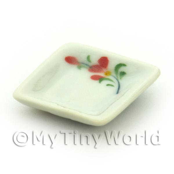 Dolls House Miniature Red Orchid Design 21mm Ceramic Square Plate