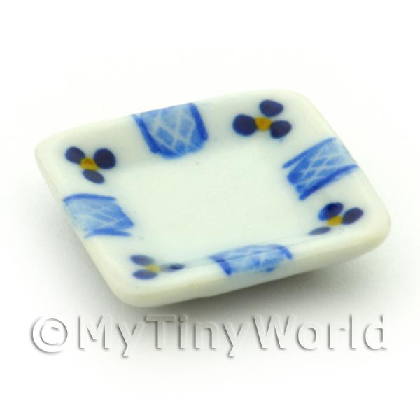 Dolls House Miniature 21mm Blue Lace Design Ceramic Square Plate