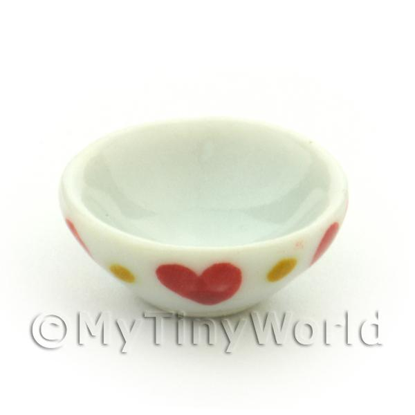 Dolls House Miniature Ceramic 16mm Bowl External With Heart Pattern