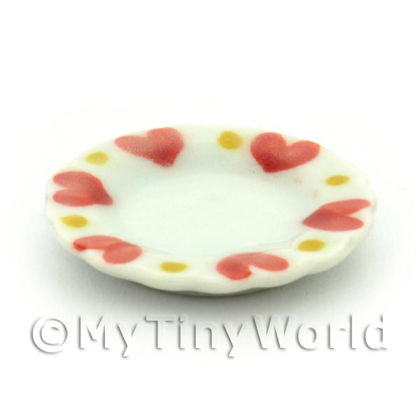 Dolls House Miniature Heart Pattern Ceramic 22mm Plate
