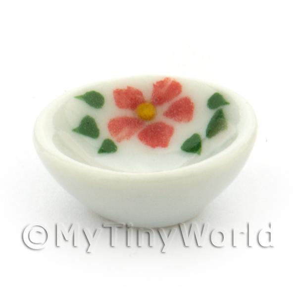 Dolls House Miniature Hibiscus Design Ceramic 16mm Bowl