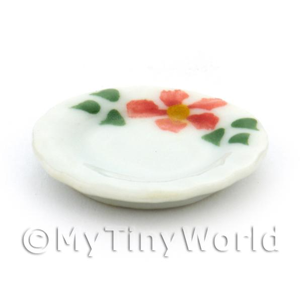 Dolls House Miniature Hibiscus Design Ceramic 20mm Plate