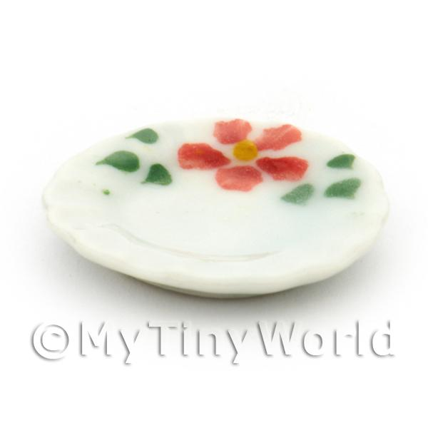Dolls House Miniature Hibiscus Design Ceramic 22mm Plate